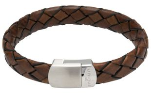 Preview image of Unique Brown Braided Leather Bracelet With Steel Magnetic Clasp.
