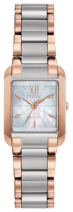Preview image of Citizen Bianca Rectangle Steel and Rose Gold Plated Ladies Bracelet Watch