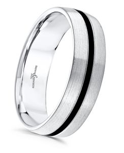 Preview image of 9ct White Gold & Black Cerin 6mm Tie Gents Wedding Ring