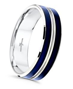 Preview image of 9ct White Gold & Blue Cerin 6mm Amplitude Gents Wedding Ring