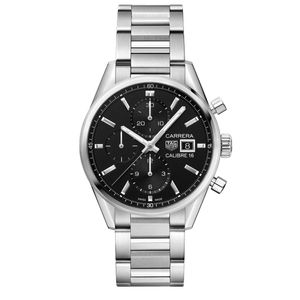 Preview image of Tag Heuer Carrera Men's Black Calibre 16 Chronograph Automatic Bracelet Watch