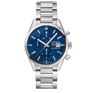 Preview image of Tag Heuer Carrera Men's Blue Chronograph Automatic Bracelet Watch
