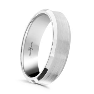 Preview image of Palladium 6mm Satin Dip Centre Polished Bevelled Edge Gents Wedding Ring