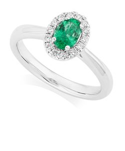 Preview image of PLATINUM EMERALD .49 & DIAMOND .13 CLUSTER RING