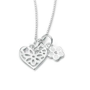 Preview image of D for Diamond Cut Out Flower & Heart Pendant