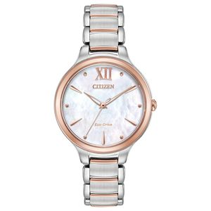Preview image of Citizen Ladies Eco-drive Rose Gold Plated Mother of Pearl Bracelet Watch
