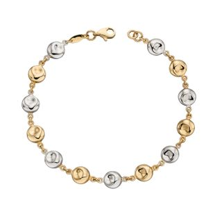 Preview image of 9ct Yellow and White Gold Hammered Disc Bracelet