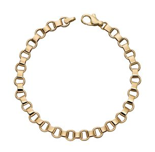 Preview image of 9ct Gold Flat Circle and Bar Link Bracelet