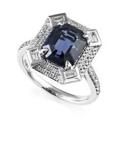 Preview image of PLATINUM BLUE SPINEL 4.30 & DIAMOND .44 RING