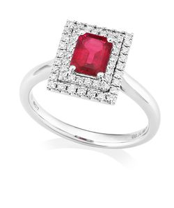 Preview image of PLATINUM RUBY .88 & DIAMOND .31 RECTANGLE CLUSTER RING