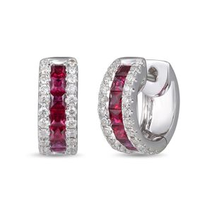 Preview image of 18CT WHITE GOLD RUBY .71 & DIAMOND .35 HOOP EARRINGS