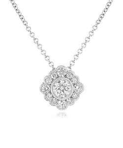 Preview image of 18CT WHITE GOLD DIAMOND .33 ROUND TAPERED NECKLACE