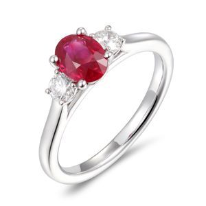 Preview image of PLATINUM RUBY 1.11 & DIAMOND .31 TRILOGY RING