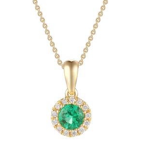 Preview image of 18CT GOLD EMERALD .15 & DIAMOND .04 CLUSTER PENDANT
