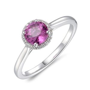 Preview image of PLATINUM PINK SAPPHIRE 1.36 & DIAMOND .08 RING
