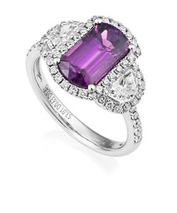 Preview image of 18CT WHITE GOLD PURPLE SAPPHIRE 3.01 & DIAMOND .63/.46 RING