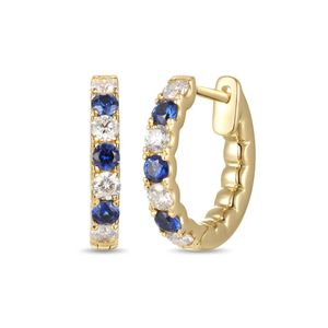 Preview image of 18CT GOLD SAPPHIRE .31 & DIAMOND .37 HOOP EARRINGS