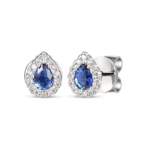 Preview image of 18CT WHITE GOLD SAPPHIRE .34 & DIAMOND .10 PEAR CLUSTER EARRINGS
