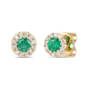 Preview image of 18CT GOLD EMERALD .24 & DIAMOND .12 CLUSTER EARRINGS