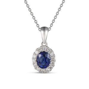 Preview image of 18CT WHITE GOLD SAPPHIRE .43 & DIAMOND .11 CLUSTER PENDANT