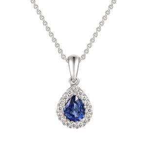 Preview image of 18CT WHITE GOLD SAPPHIRE .39 & DIAMOND .11 PEAR CLUSTER PENDANT