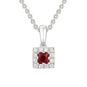 Preview image of 18CT WHITE GOLD RUBY.13  & DIAMOND .06 SQUARE CLUSTER PENDANT