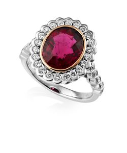 Preview image of 18CT WHITE & ROSE GOLD RUBELLITE 3.69 & DIAMOND .67 RING