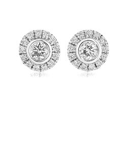 Preview image of 18CT WHITE GOLD DIAMOND .46 HALO EARRINGS