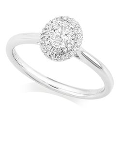 Preview image of PLATINUM DIAMOND .24 OVAL CLUSTER RING