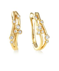 Preview image of 18CT GOLD DIAMOND .15 BUBBLE HOOP EARRINGS