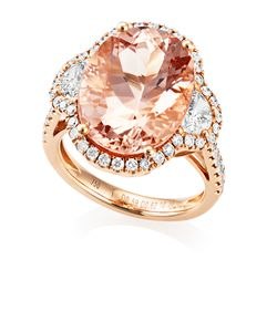 Preview image of 18CT ROSE GOLD MORGANITE 10.36 & DIAMOND 1.21 RING