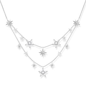 Preview image of Thomas Sabo Sterling Silver 2 Row Stone Set Star Necklace