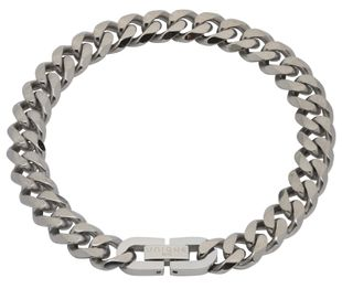 Preview image of Unique Steel Matt and Polished Curb Bracelet