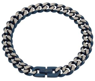 Preview image of Unique Blue Steel Matt and Polished Curb Bracelet