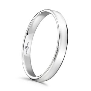 Preview image of Platinum 2.5mm Softened Flat Court Ladies Wedding Ring