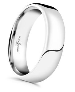 Preview image of 9ct White Gold 6mm Plain Softened Medium Court Gents Wedding Ring
