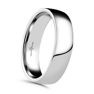 Preview image of 9ct White Gold 6mm Plain Lightweight Court Gents Wedding Ring