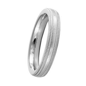 Preview image of Platinum 3mm Double Row Beaded Edge Ladies Wedding Ring