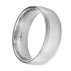 Preview image of Platinum 7mm Double Row Beaded Edge Gents Wedding Ring