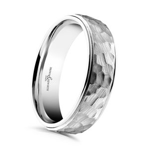 Preview image of Palladium 6mm Hammered Finish Cabala Gents Wedding Ring
