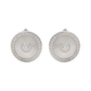 Preview image of Unique Pave Cubic Zirconia Disc Earrings