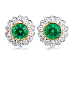 Preview image of 18CT WHITE & YELLOW GOLD RUBOVER EMERALD .59 & DIAMOND .39 EARRINGS