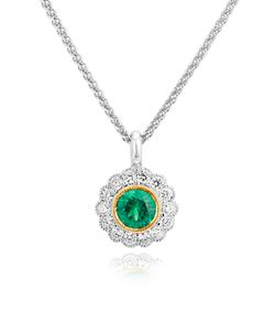 Preview image of 18CT WHITE & YELLOW GOLD RUBOVER EMERALD .28,  & DIAMOND .19 PENDANT