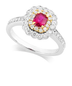 Preview image of 18CT WHITE & YELLOW GOLD RUBY .49 & DIAMOND .56 CLUSTER RING