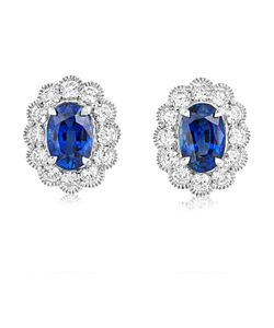Preview image of 18CT WHITE GOLD SAPPHIRE 1.33 & DIAMOND 0.54 CLUSTER EARRINGS