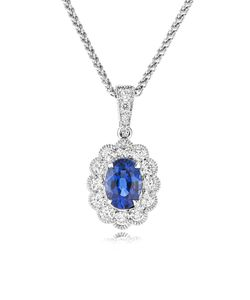Preview image of 18CT WHITE GOLD SAPPHIRE .67 & DIAMOND .29 CLUSTER PENDANT