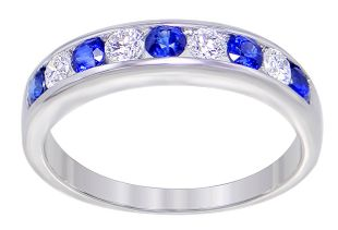 Preview image of 18CT WHITE GOLD SAPPHIRE .42CT & DIAMOND .27CT CHANNEL SET RING