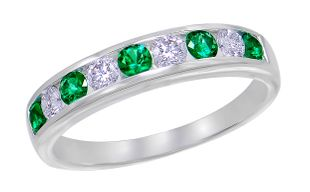 Preview image of 18CT WHITE GOLD EMERALD .32CT & DIAMOND .28CT CHANNEL SET RING