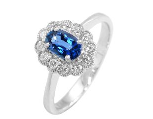 Preview image of PLATINUM SAPPHIRE .58 & DIAMOND .22 CLUSTER RING