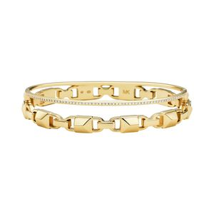 Preview image of MICHAEL KORS 14k Gold Plated Sterling Silver Mercer Link Pavé Halo Bangle